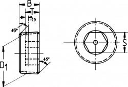 Bouchon de vidange sans tête DIN 906 M8 X 1.00 acier cl.5.8 brut