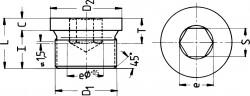 Bouchon de vidange tête cylindrique DIN 908 M16 X 1.50 acier cl.5.8 brut