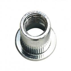 Ecrou à sertir tête cylindrique plate moleté débouchant