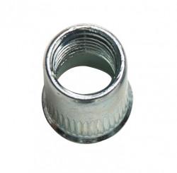 Ecrou à sertir tête cylindrique réduite, moleté débouchant