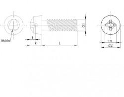 Vis autoformeuse à métaux pour tête cylindrique bombée empreinte Pozidriv Z inox A2