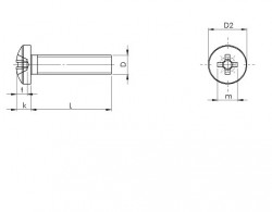 Vis à métaux tête cylindrique bombée large empreinte cruciforme Pozidriv Z inox A2