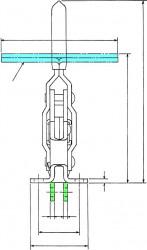 Sauterelle tirée à poignée verticale série basse HV 453-L acier KAKUTA®