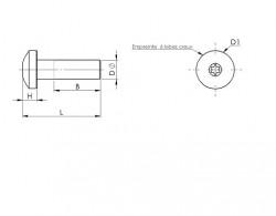 Vis métaux tête cylindrique bombée à 6 lobes internes DIN 7985 inox A2