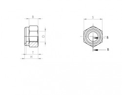 Ecrou hexagonal autofreIné (anneau non métallique) NYLSTOP inox A4 70