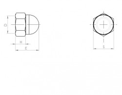 Ecrou borgne NFE 27453 M8 X 1.25 acier cl.10