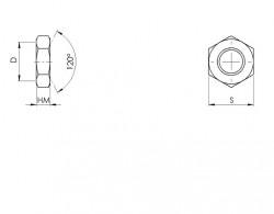 Ecrou hexagonal bas HM pas fin ISO 8675 acier doux