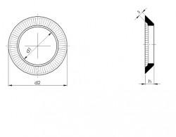 Rondelle conique à double crantage type «VS» 10mm acier ressort brunie