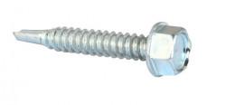 Vis à tôle autoperceuse tête hexagonale DIN 7504K M4.8 X 13mm acier cémenté zingué blanc