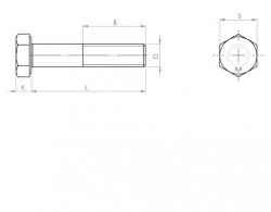 Vis tête hexagonale partiellement filetée DIN 931 M39 X 4.00 X 140mm cl.8.8